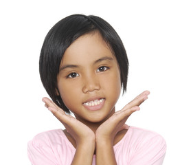 Little girl on a over white background