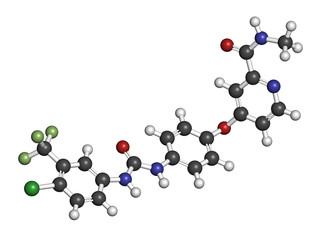 Sorafenib cancer drug molecule. Tyrosine kinase inhibitor (TKI).