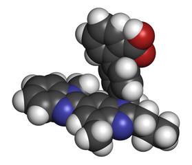 Telmisartan hypertension drug molecule.
