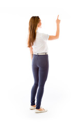 model isolated on plain background back pointing