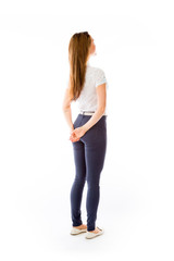 model isolated on plain background back looking behind