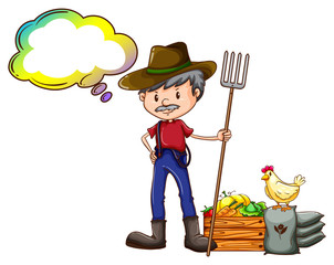 A farmer holding a rake with an empty callout