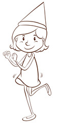 A plain drawing of a girl celebrating