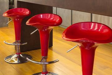 Interior, red stools