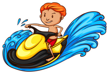 A sketch of a boy riding a water vehicle