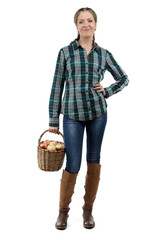 Photo of woman holding basket with apples