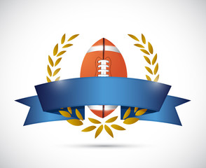 football laurel ribbon banner illustration