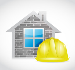 house and construction helmet