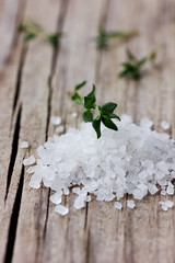 Sea salt with a fresh herbs thyme
