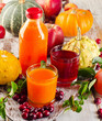 Healthy fresh Juices, fruits  and vegetables - autumn still life