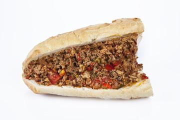 Turkish Kokorec - lamb intestine food sandwich
