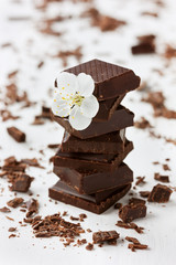 Chocolate slices decorated beautiful flower
