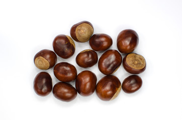 Sweet chestnuts collection on white