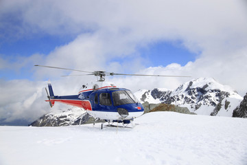 Helicopter fight over Glacier, New Zealand