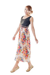 Attractive Asian woman with maxi dresses