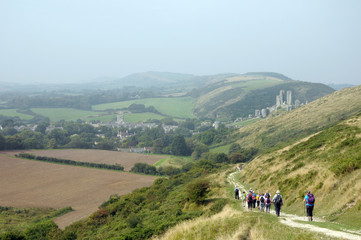 Footpath above Corfe Castle in Dorset