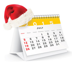 July 2015 desk calendar with Christmas hat