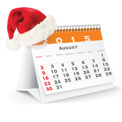 August 2015 desk calendar with Christmas hat
