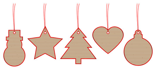 Set 5 Christmas Hangtags Brown Paper Red