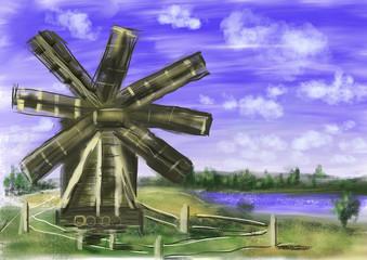 hand draw paint windmill