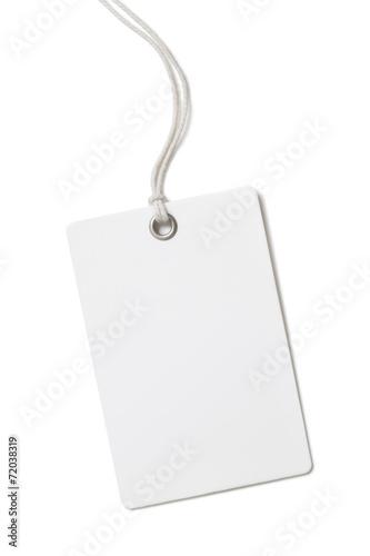 Leinwandbild Motiv Blank paper price tag or label isolated on white