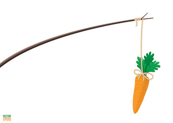 Carrot and stick motivation illustration.