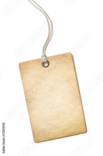 Leinwandbild Motiv Blank old paper price tag or label isolated on white