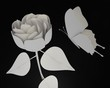 canvas print picture - Roos en vlinder