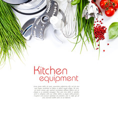 Tomatoes, chives and blender for cooking