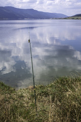 Fishing rods on a lake