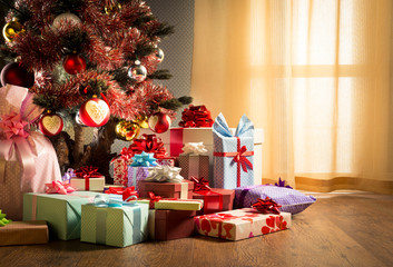 Colorful christmas interior with gifts