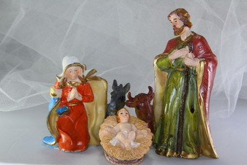 characters of the crib with baby Jesus in the crib