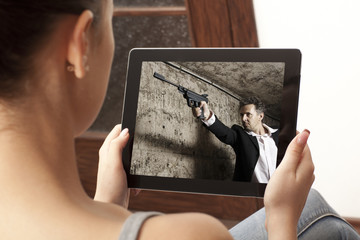 Action  movie on tablet