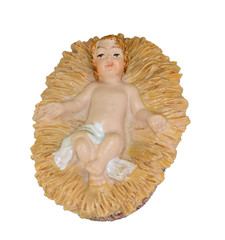 baby Jesus in the crib and white background