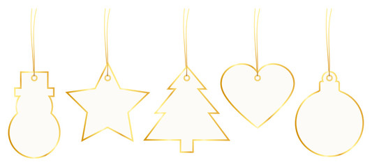 Set 5 Christmas Hangtags Paper Gold
