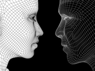 Conceptual wireframe mesh man woman face