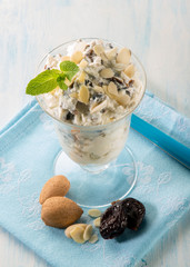 mousse with ricotta plum and almond