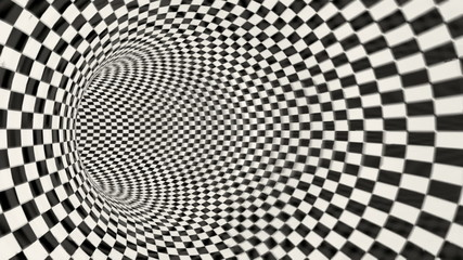 3d checkered tunnel.
