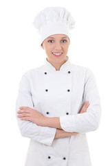 young woman chef  isolated on white
