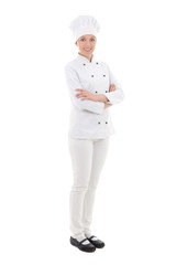 full length portrait of young woman chef  isolated on white