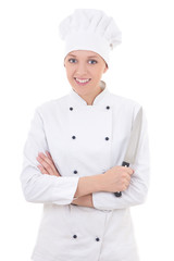 young happy woman in chef uniform holding knife isolated on whit