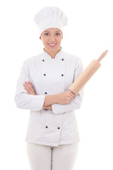 woman in chef uniform with baking rolling pin isolated on white