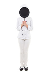 full length portrait of young woman in chef uniform with frying