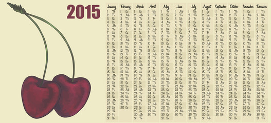2015 calendar with cherry berries