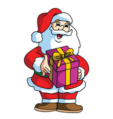 Santa Claus Smiling adn Bringing The Gift