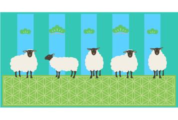 羊 松屏風 緑