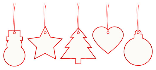 Set 5 Christmas Hangtags Paper Red