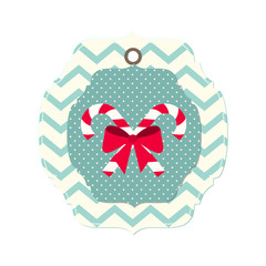 christmas card with ribbon and two candy canes