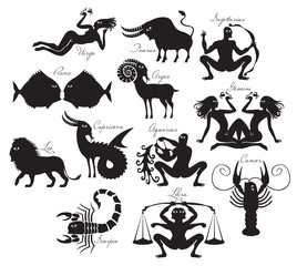 vector set of zodiac signs in the ancient style