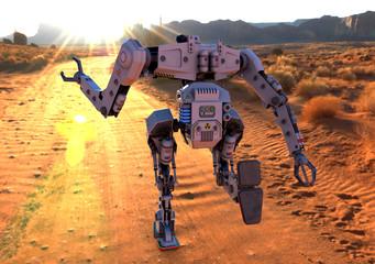 titan robot running on desert